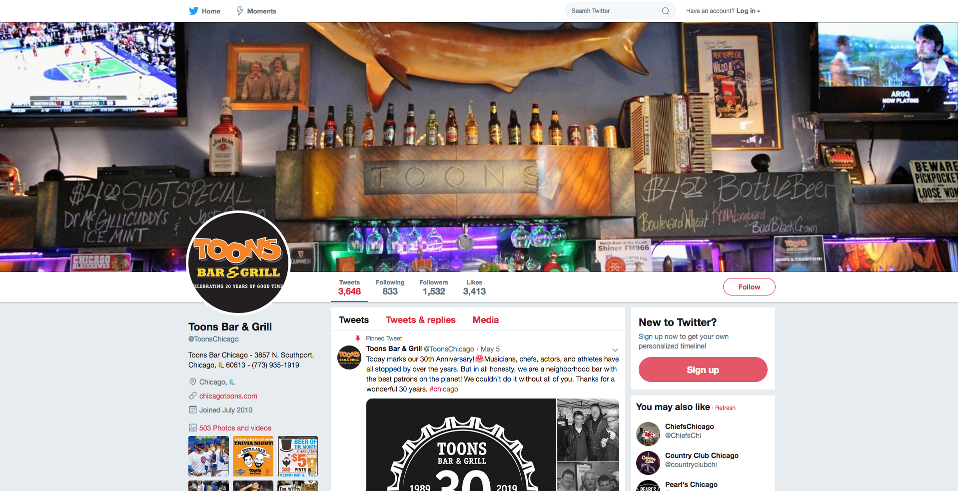 Toons Bar & Grill - Twitter