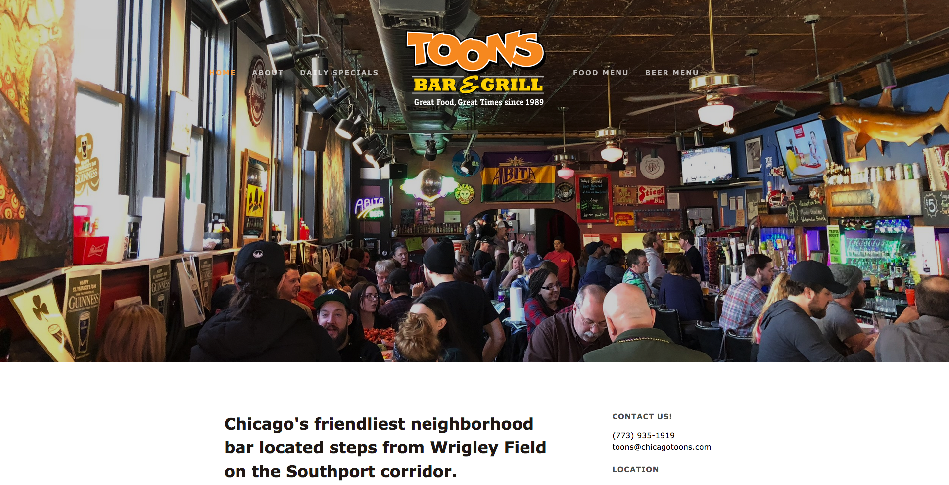 Website design - Toons Bar & Grill -    Click here to view more