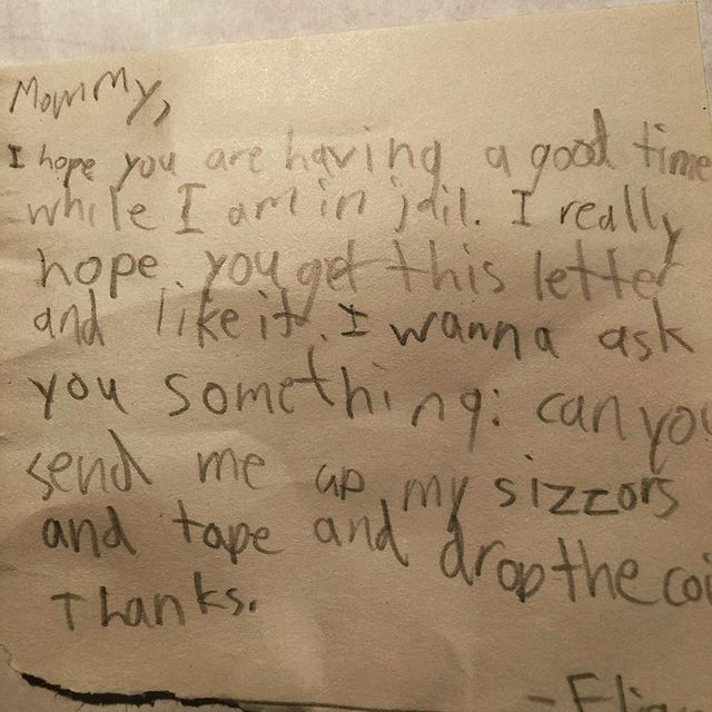 Hoping this isn't a harbinger of things to come ... #lettersfromkidjail