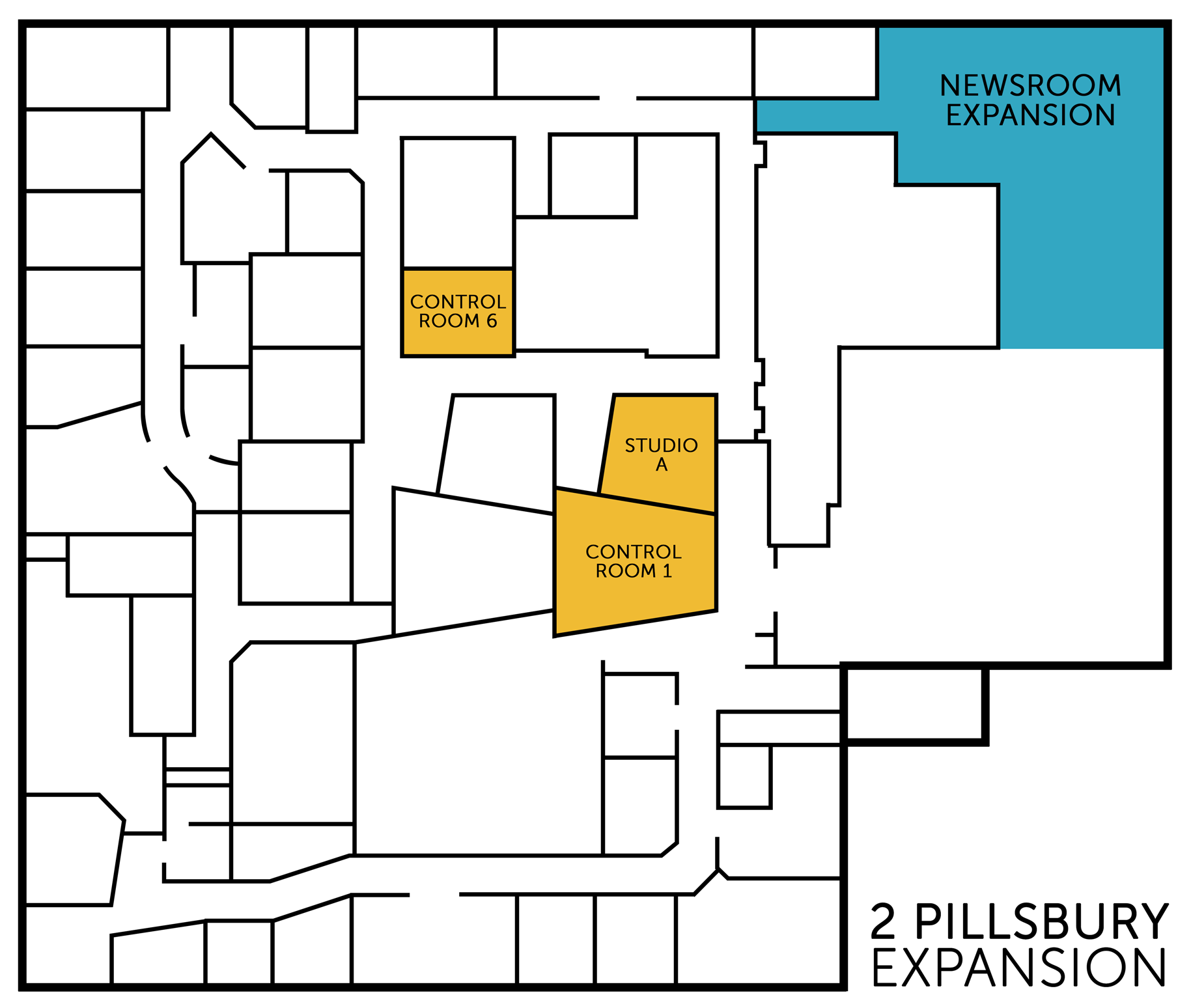 Highlighted areas show the expanded floor plan of NHPR's facility at 2 Pillsbury Street in Concord.