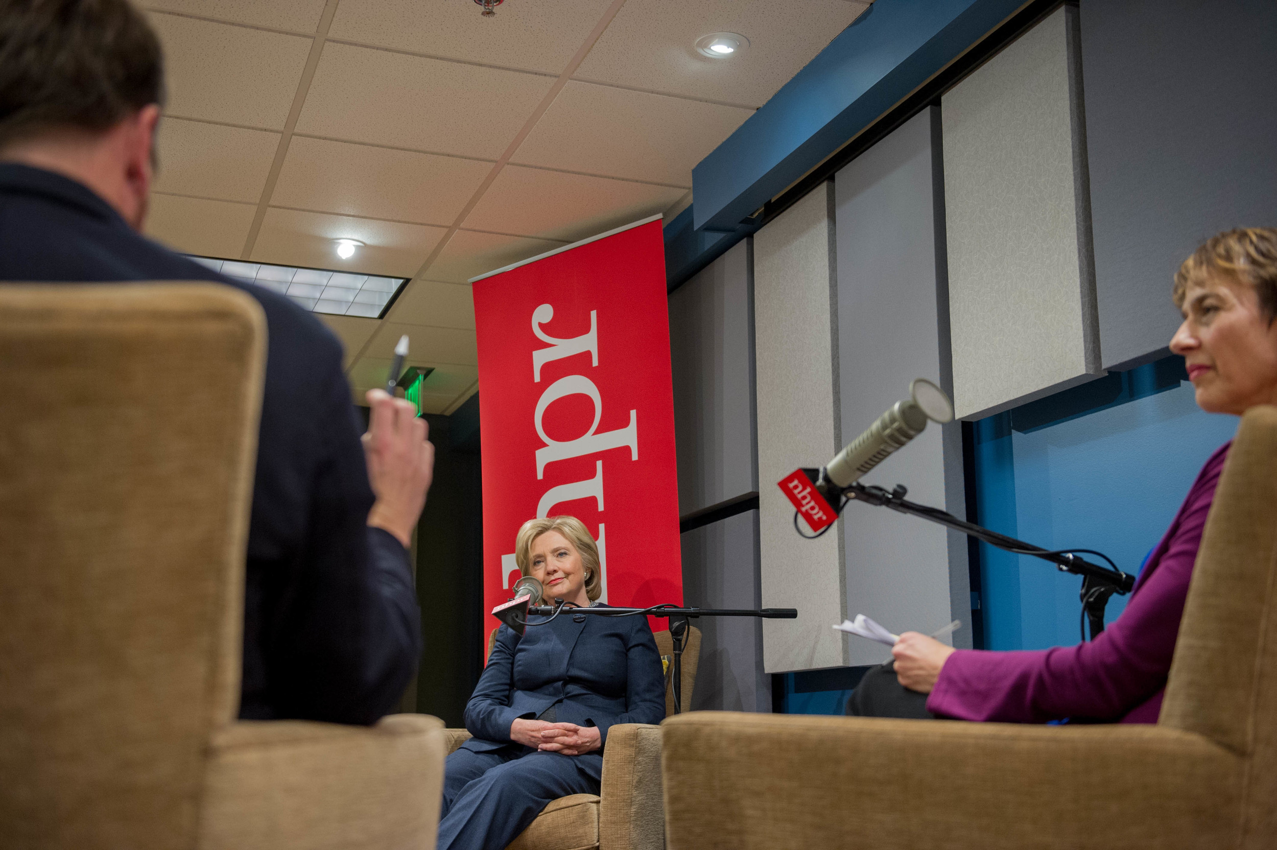 Josh Rogers and Laura Knoy ask Hillary Clinton questions at an NHPR forum