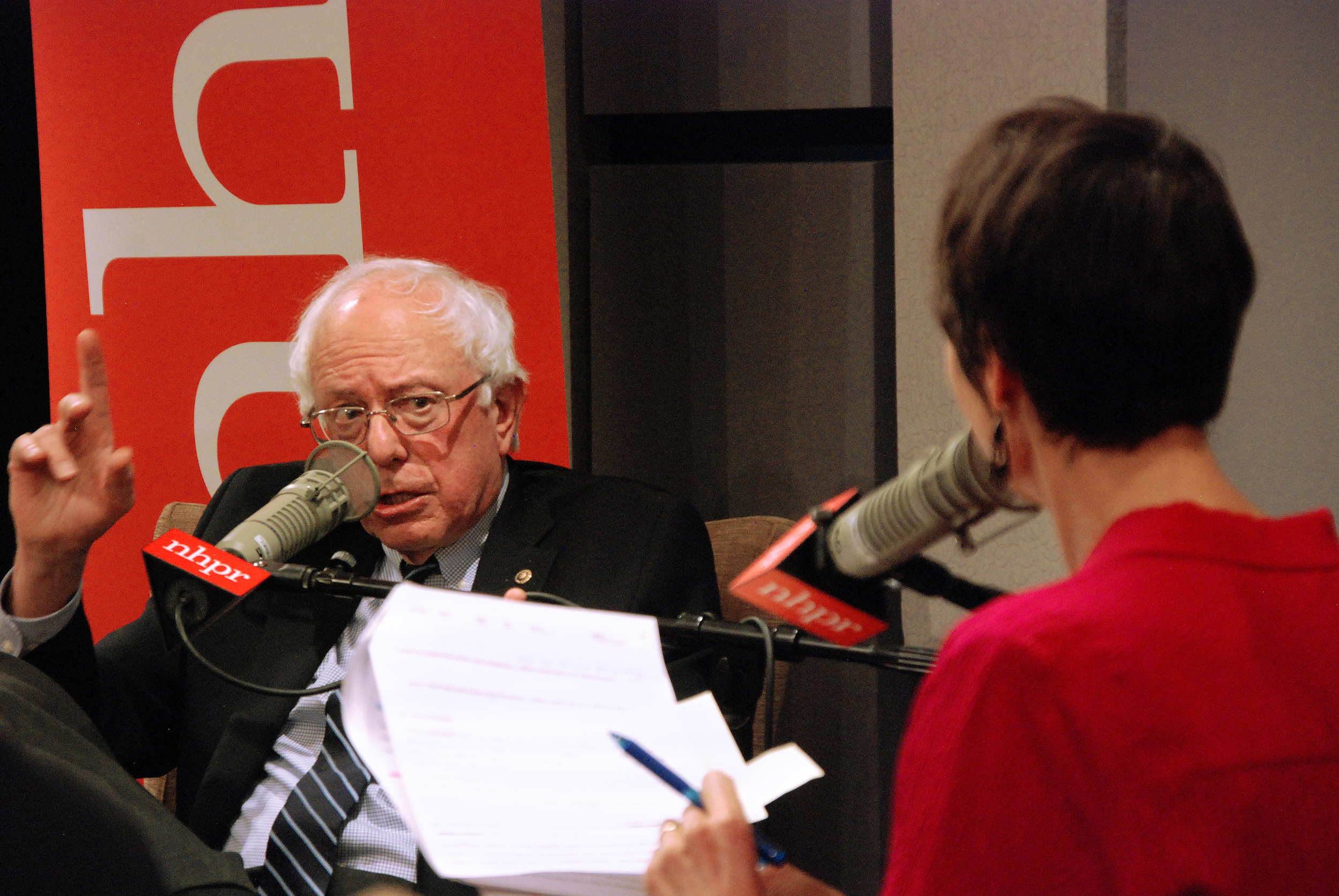 Bernie Sanders takes questions at an NHPR candidate forum