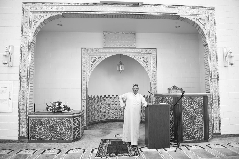 Mohammed Jbailat inside the Khadeeja Islamic Center, a Muslim place of worship.