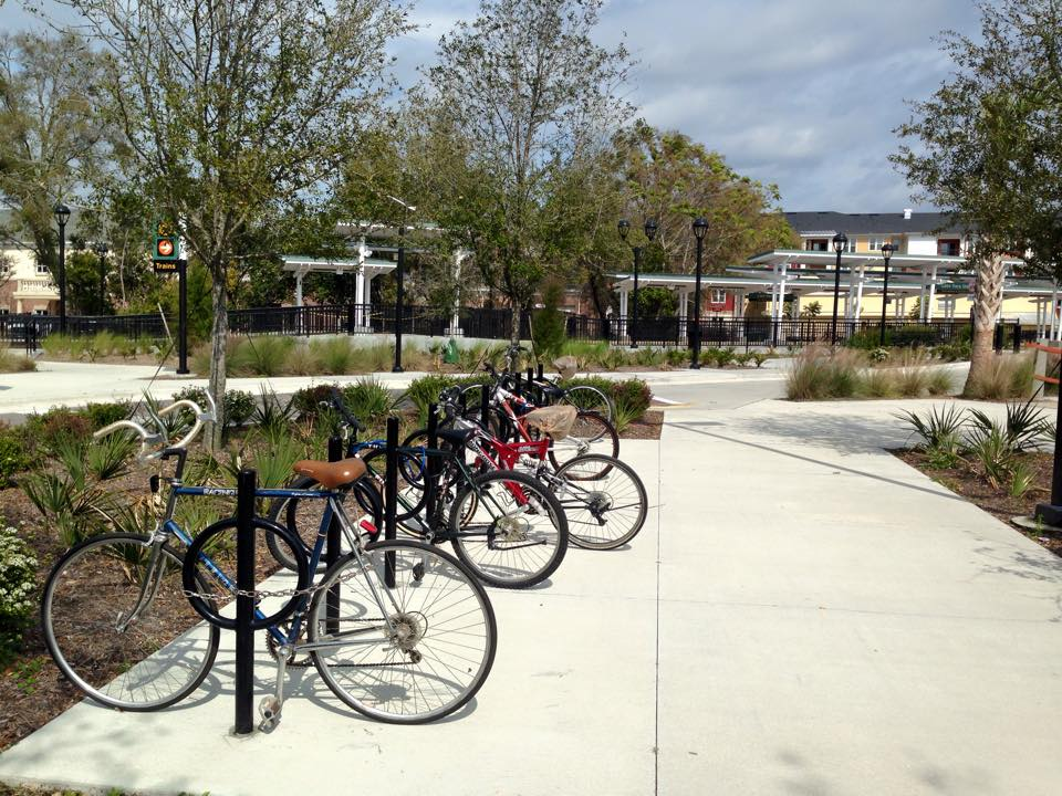 Bicycle parking at the Lake Mary station. The Cross Seminole Trail is nearby.