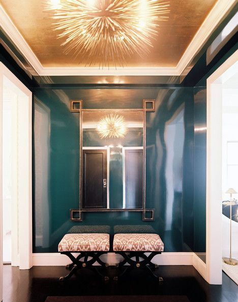 Now this is a strong competition of what's more gorgeous, the gold ceiling or the teal lacquered walls.