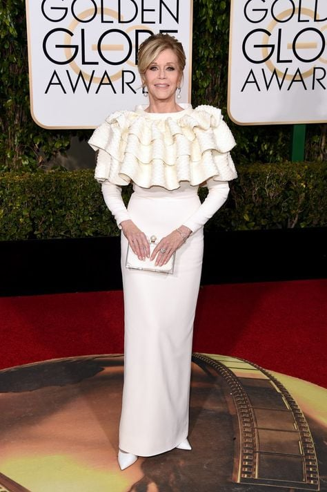 speaking of timeless beauty, Jane Fonda at 78,  wearing Yves Saint Laurent Couture and Chopard Jewels