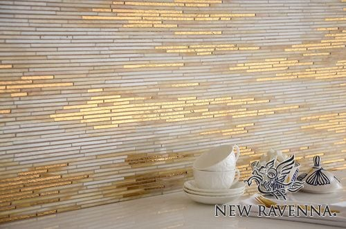 New Ravenna  tile handmade with 24K gold glass and agate and quartz jewel glass