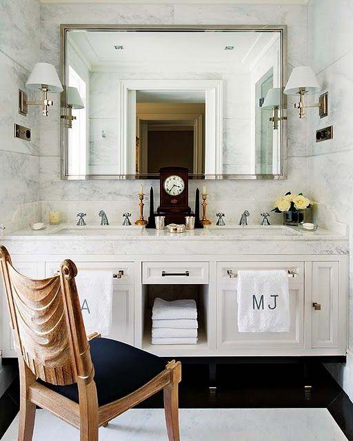 don't have space for a towel bar? A unique solution via  carla aston