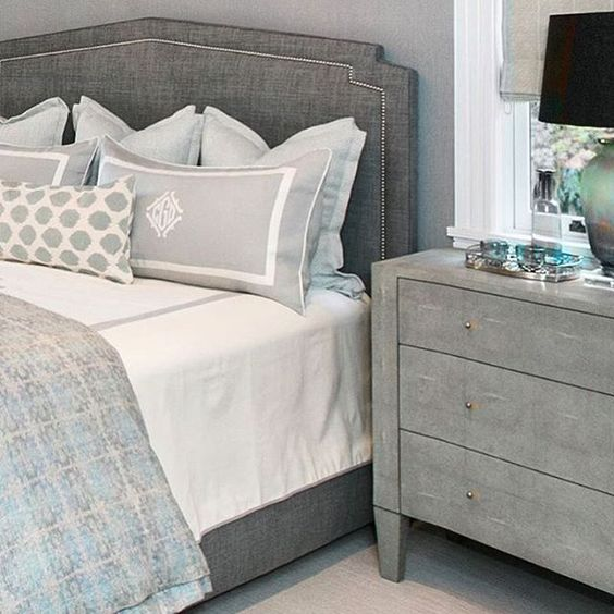 tone on tone grey in the bedroom is oh so soothing via  leontine linens