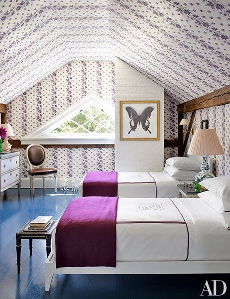 by wallpapering not only the walls, but also the ceiling gives the appearance of an even larger space via  Architectural digest