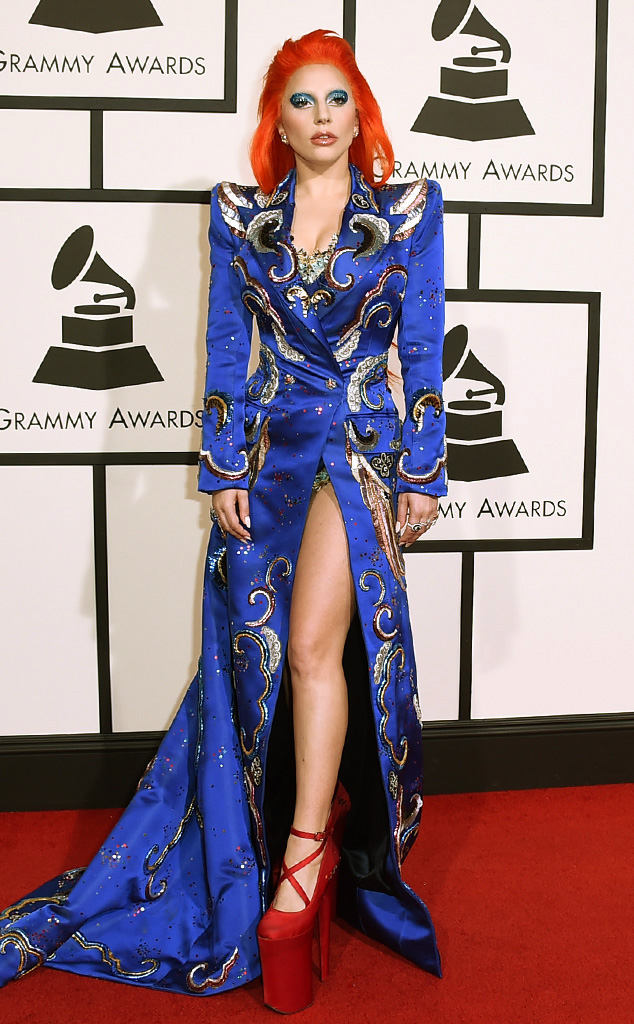 Gaga honoring the one and only Bowie in her red carpet gown and iconic red bowie hair
