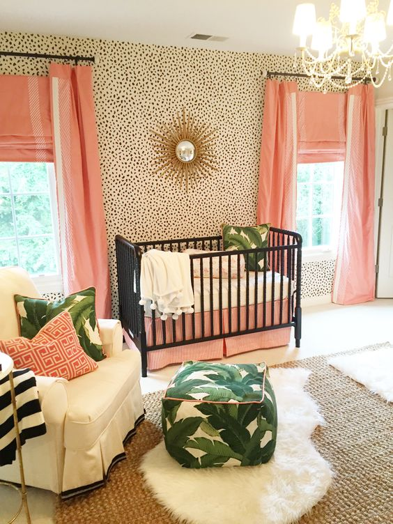 What a sweet preppy, feminine  space  for one special baby.  I love the peach and banana leaf color combo.