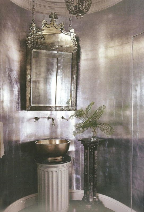 i figure there had to have been a better way to hang such a gorgeous mirror other than chain link, and take away the column pedestal sink stand and the other plant holder pedestal and this room might be really really special