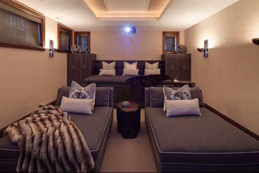 a cozy basement movie room