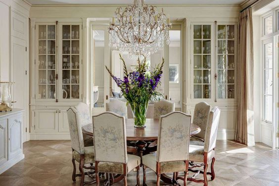 a classic monochromatic  dining room