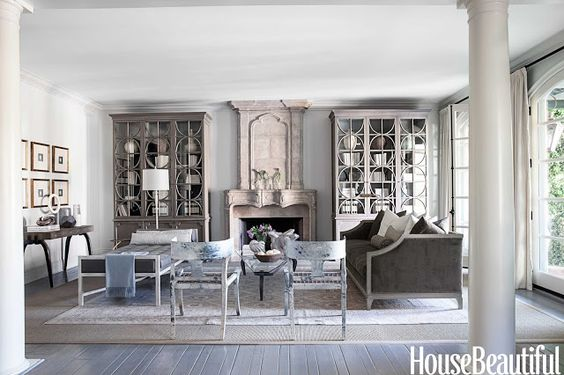 I am so into monochromatic rooms lately.  And well, I've always loved oversized furniture so those cabinets have me swooning.