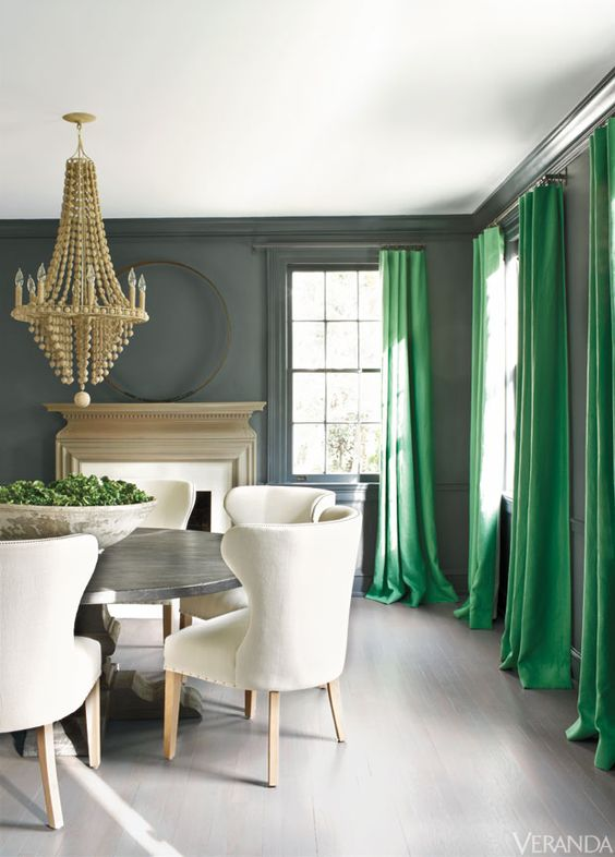 I'm not normally drawn to green, but those drapes have me thinking otherwise, via  Veranda
