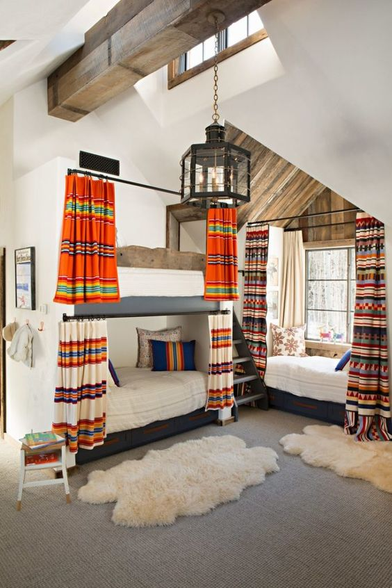I'm loving the pendleton blankets for fabric for the curtains.  via  Architectural digest