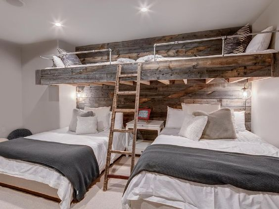 Bunk rooms are a great solution for sleeping lots of people in a mountain home.  The more the merrier I say. You could  rent this house !