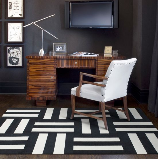 Oh zebra wood!!! note, by painting the trim the same color as the walls, it doesn't distract from the desk.