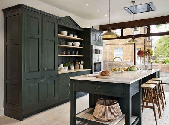 This is a nice dark, saturated  green  that would work in many house settings.