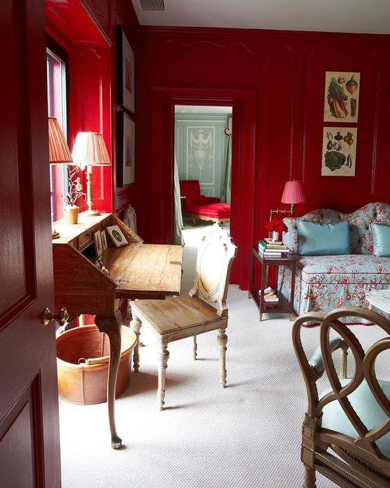 A lacquered room by the iconic designer  Miles Redd  from his book  The big book of chic.