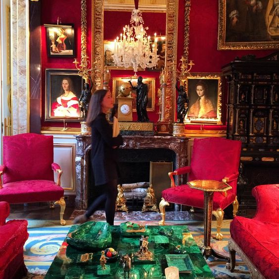 This is from a sothebys unveiling of the  Robert Zellinger de Balkany  Collection in Paris.  There were 800 lots represented at this sale with one of the greatest collections of Decorative Arts and Old master paintings ever to appear at auction in france.  But I can't keep my eyes off those malachite items and cocktail table.