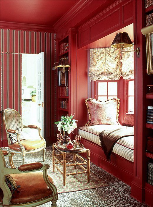 red and leopard, another classic combo.  Designed by  anne miller interiors.