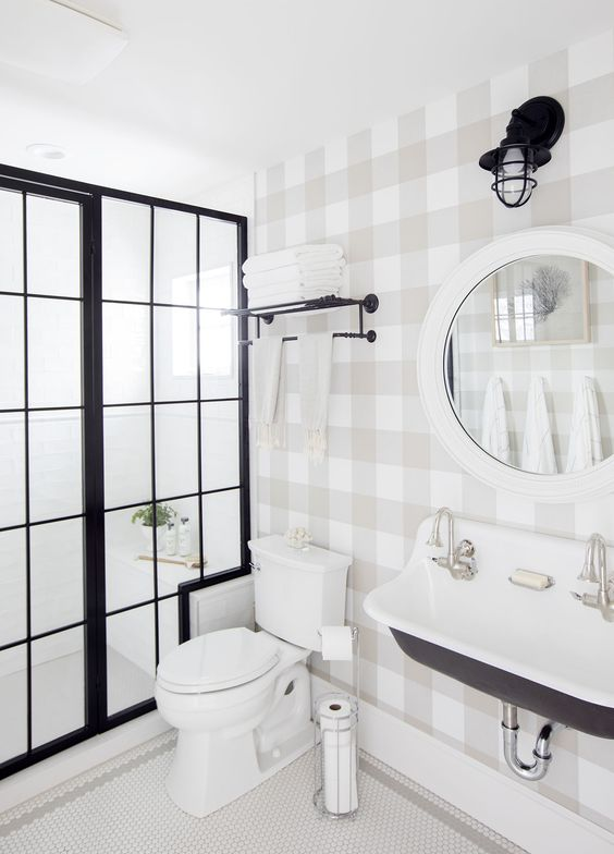 THIS IS  JILLIAN HARRIS ', OF  LOVE IT OR LIST IT TOO ,NEW SPARE BATHROOM. ANOTHER CLASSIC COLOR COMBO, WITH THE TAUPE COLOR THAT I'M TELLING YOU IS COMING BACK.