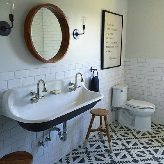 ANOTHER FUN FLOOR! BUT IS IT BAD THAT I THINK THESE PATTERNED FLOORS WILL BE OUT SOON? OR RATHER, WILL JUST SHOW Around WHAT YEAR YOU DID YOUr BATHROOM?