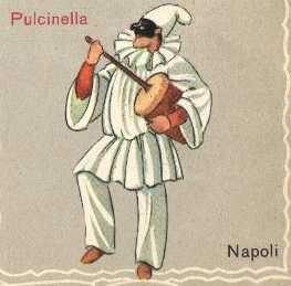 Pulcinella, the stock Neapolitan character, typically dressed in black and white and in this case, playing his instrument, the putipù.