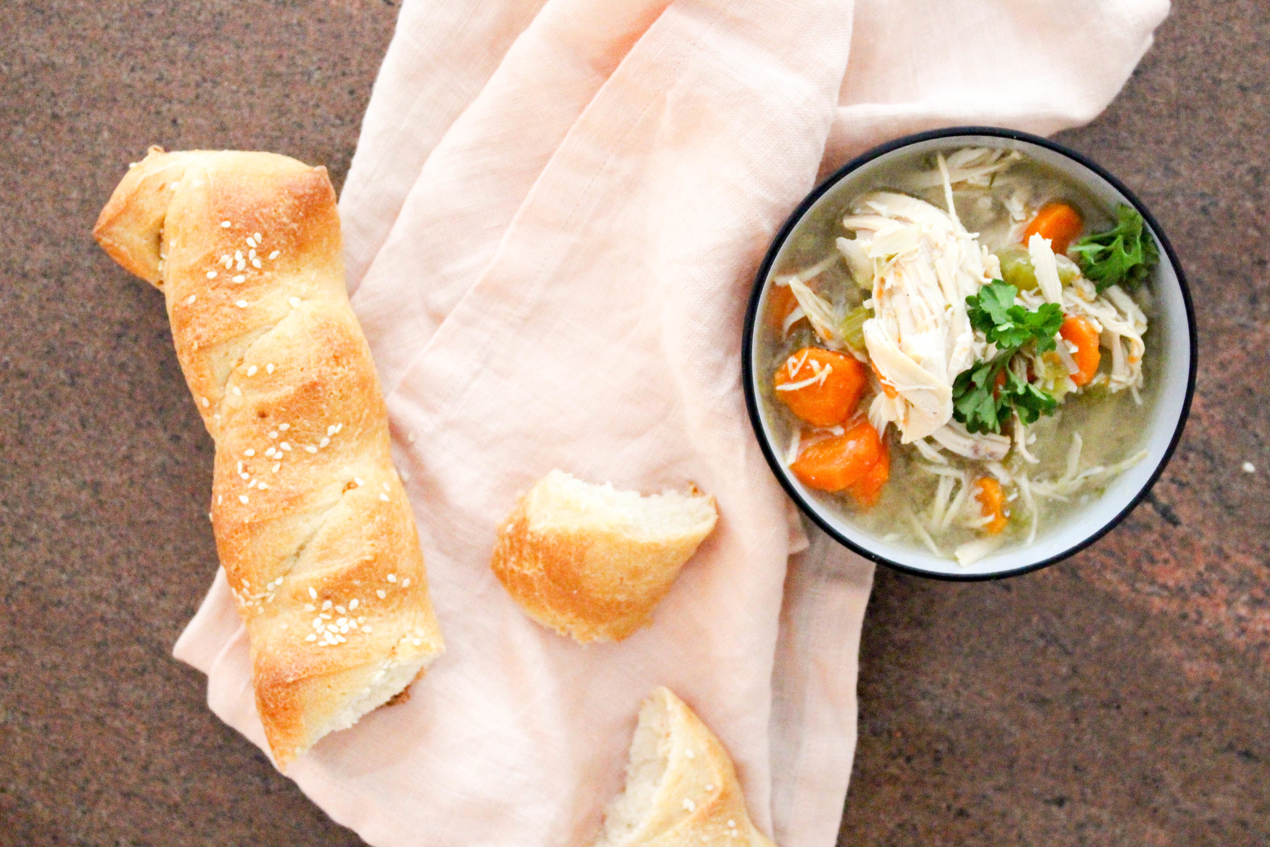 Chicken Soup and Sesame Bread