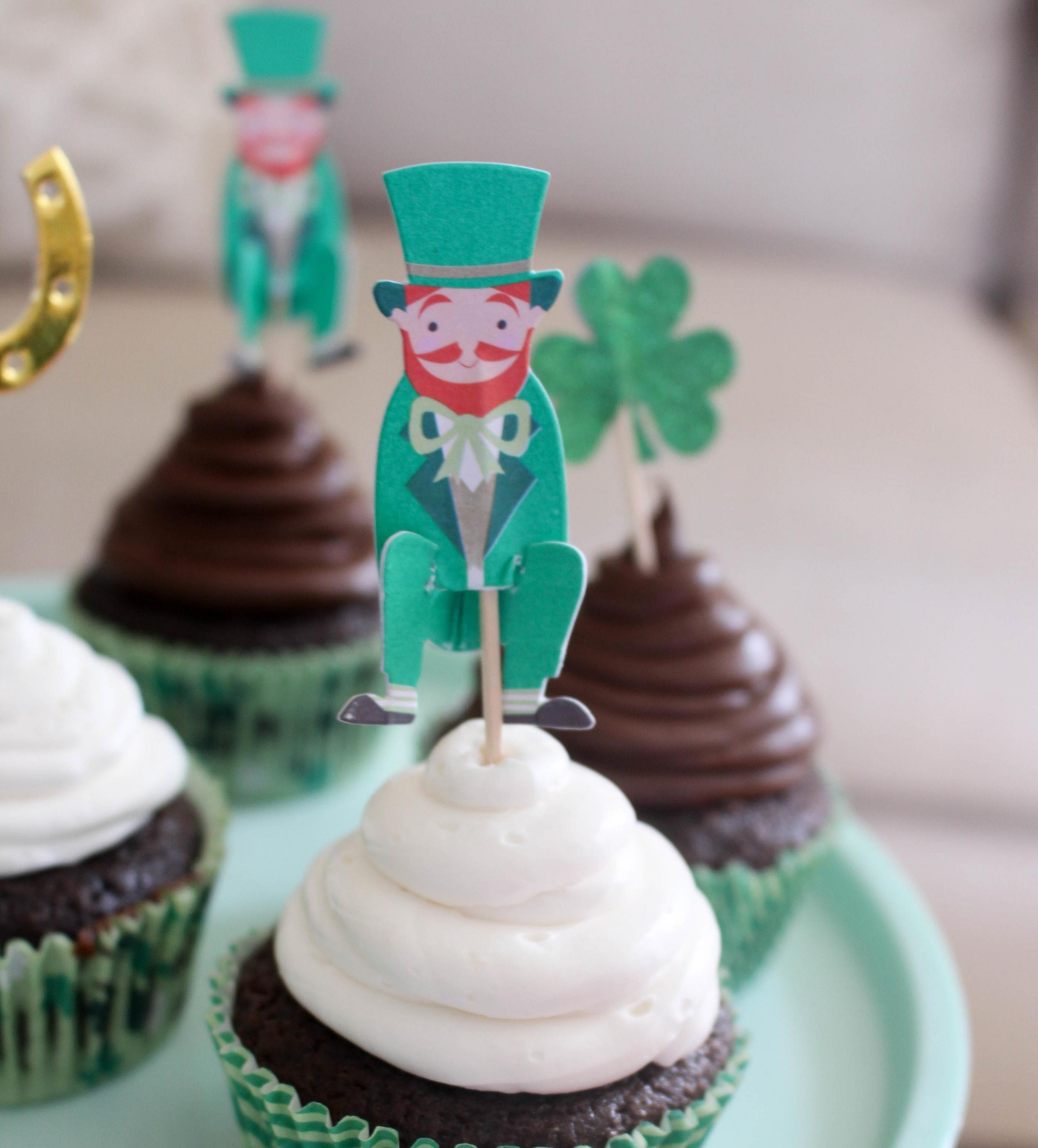 Chocolate Stout Irish Buttercream Cupcakes
