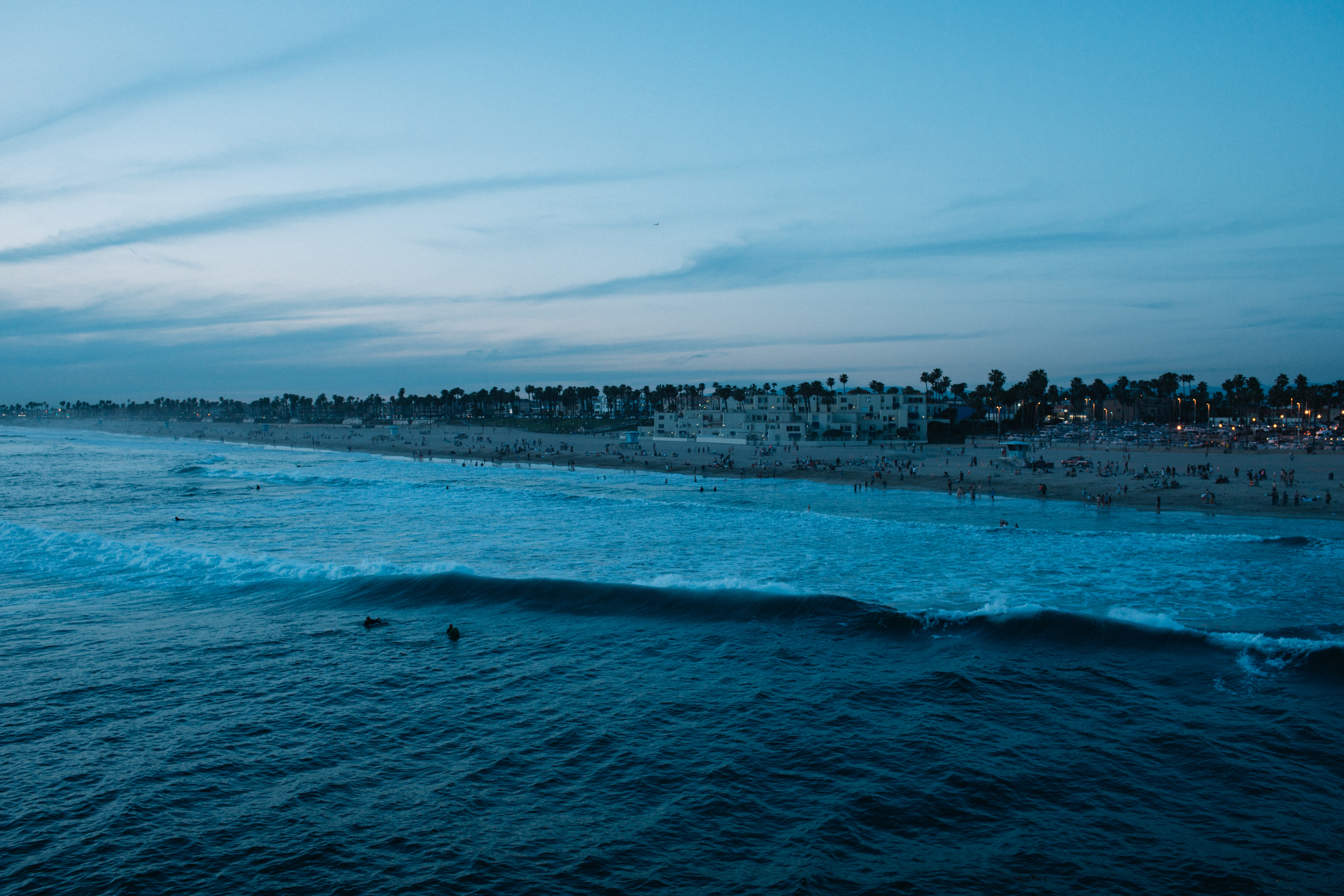 Huntington Beach at night.