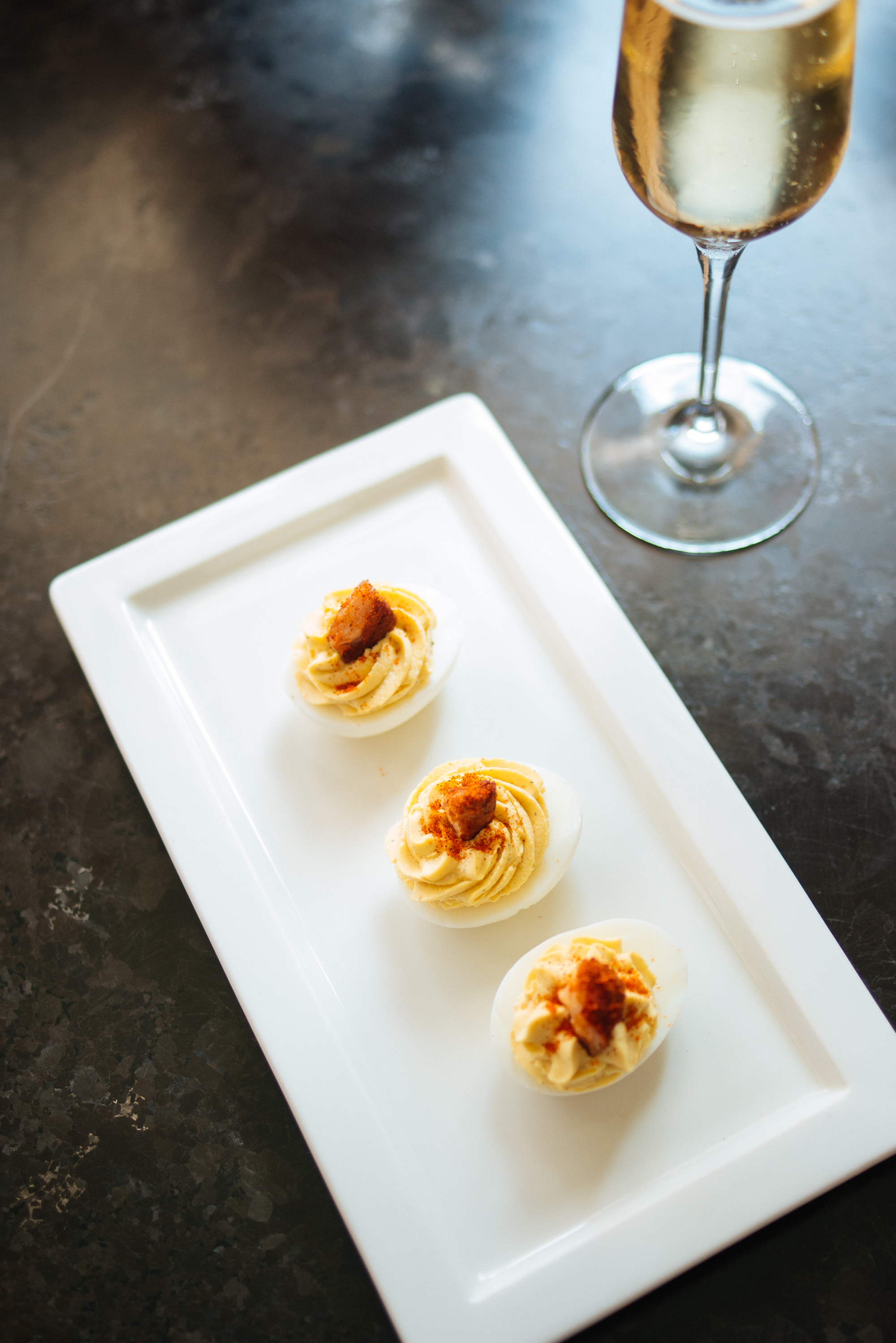 DEVILED EGGS - smoked salmon, paprika, mustard