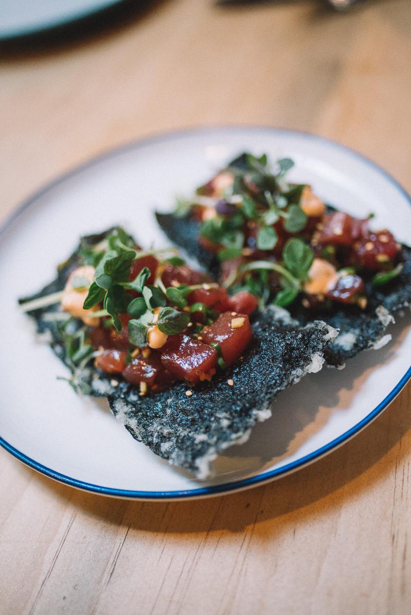 tuna poke, sesame oil, radish, nori cracker