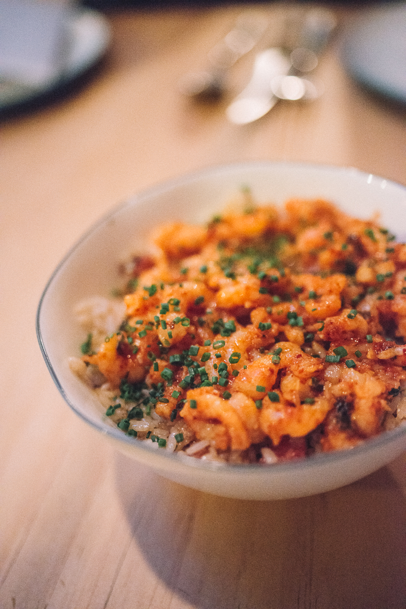 fried rice, bay shrimp, spam, abalone mushrooms