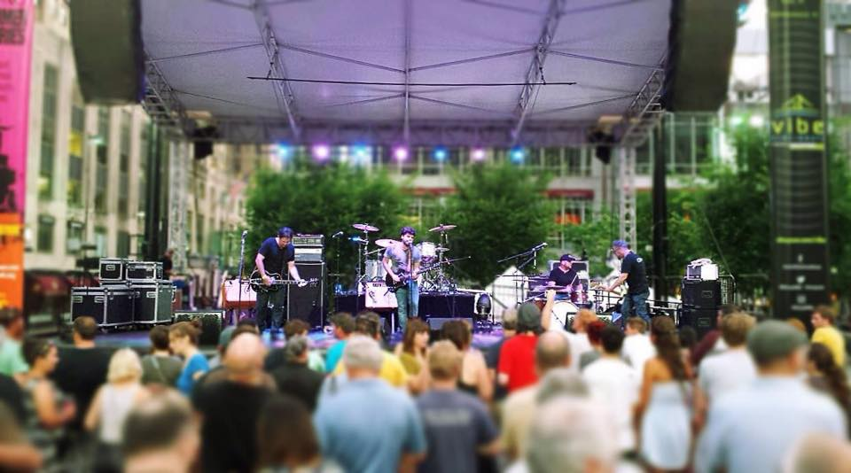 Huge thanks to Bob and GUIDED BY VOICES for a wonderful evening on Fountain Square. Downtown Cincinnati, 15 July, 2016.    Photo: Sherry Gold