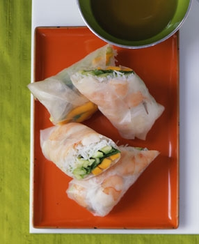 mango shrimp rolls