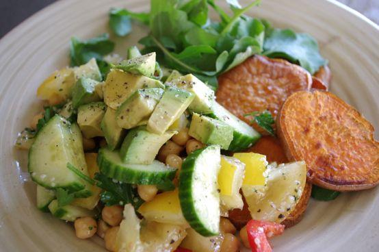 salad + sweet potato