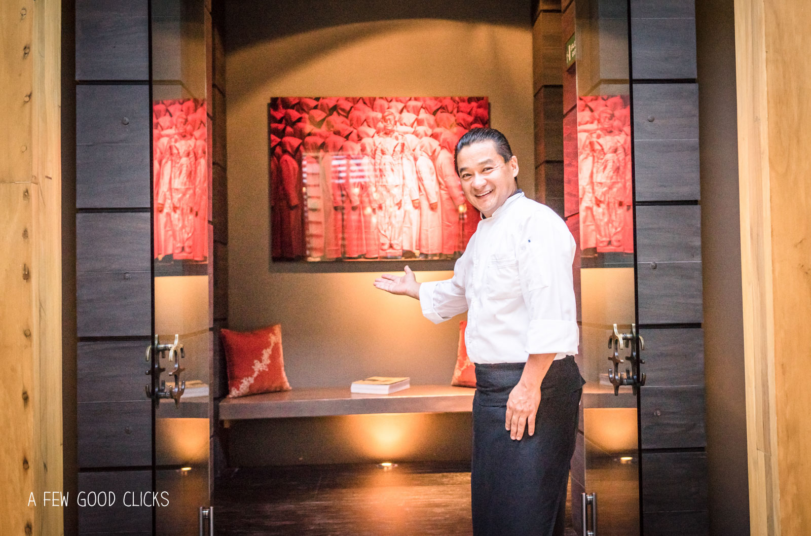 A warm welcome at the entrance of Asian fusion restaurant - Indochine