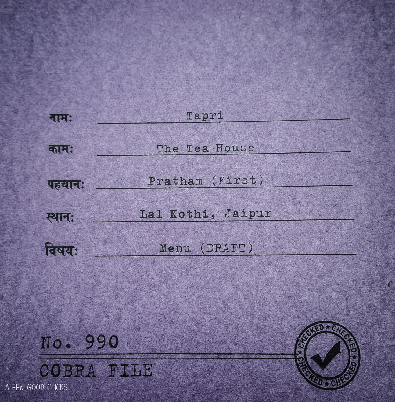 Tapri Menu Card