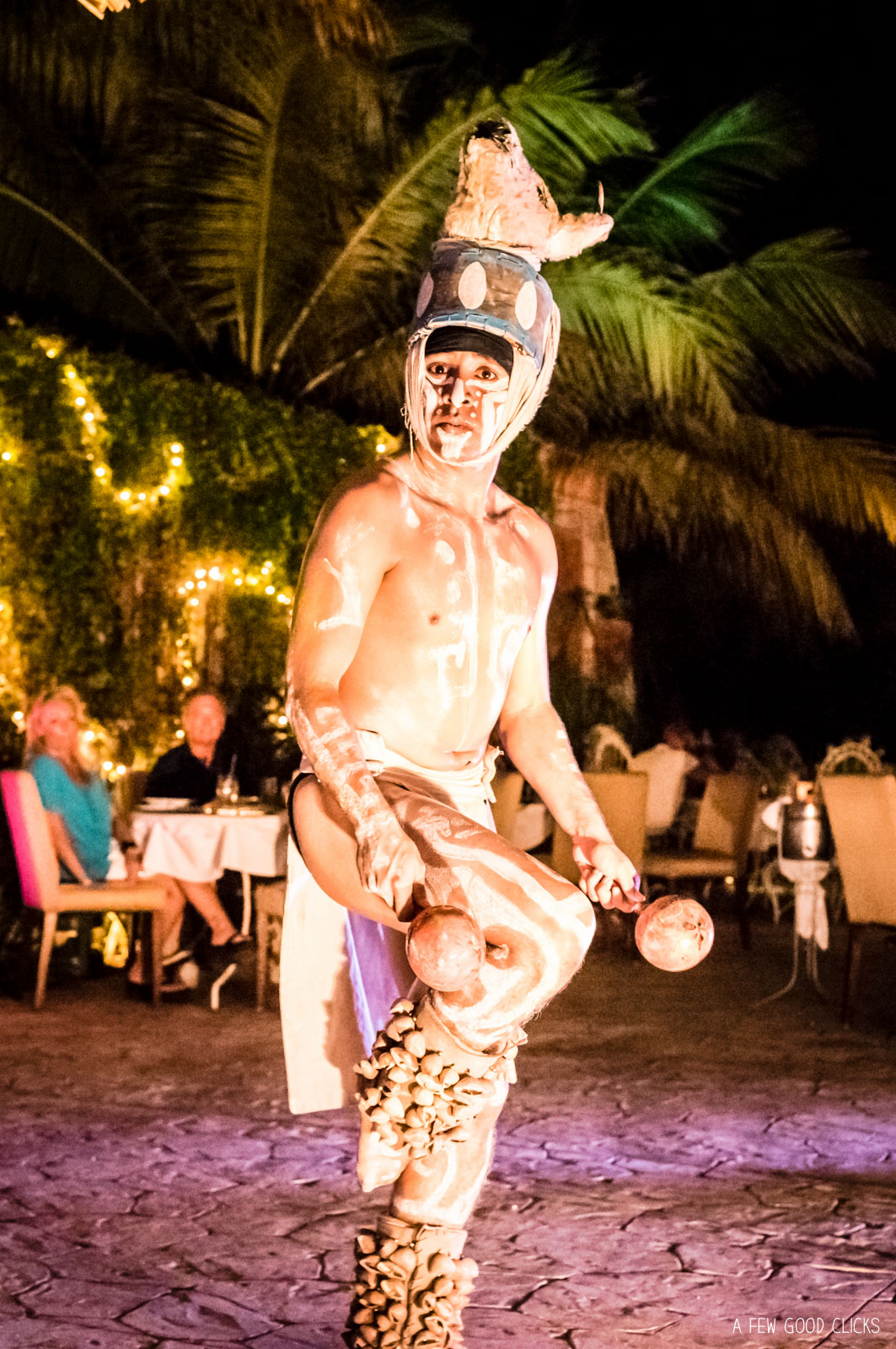 The Mayan King during the performance at La Habichuela Sunset, Cancun.