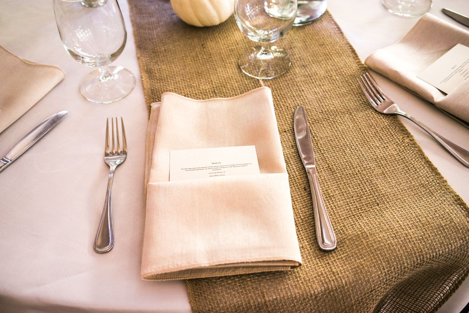 Wedding lunch set up - Jute and silk fabric forms a great combination for the fall weddings.
