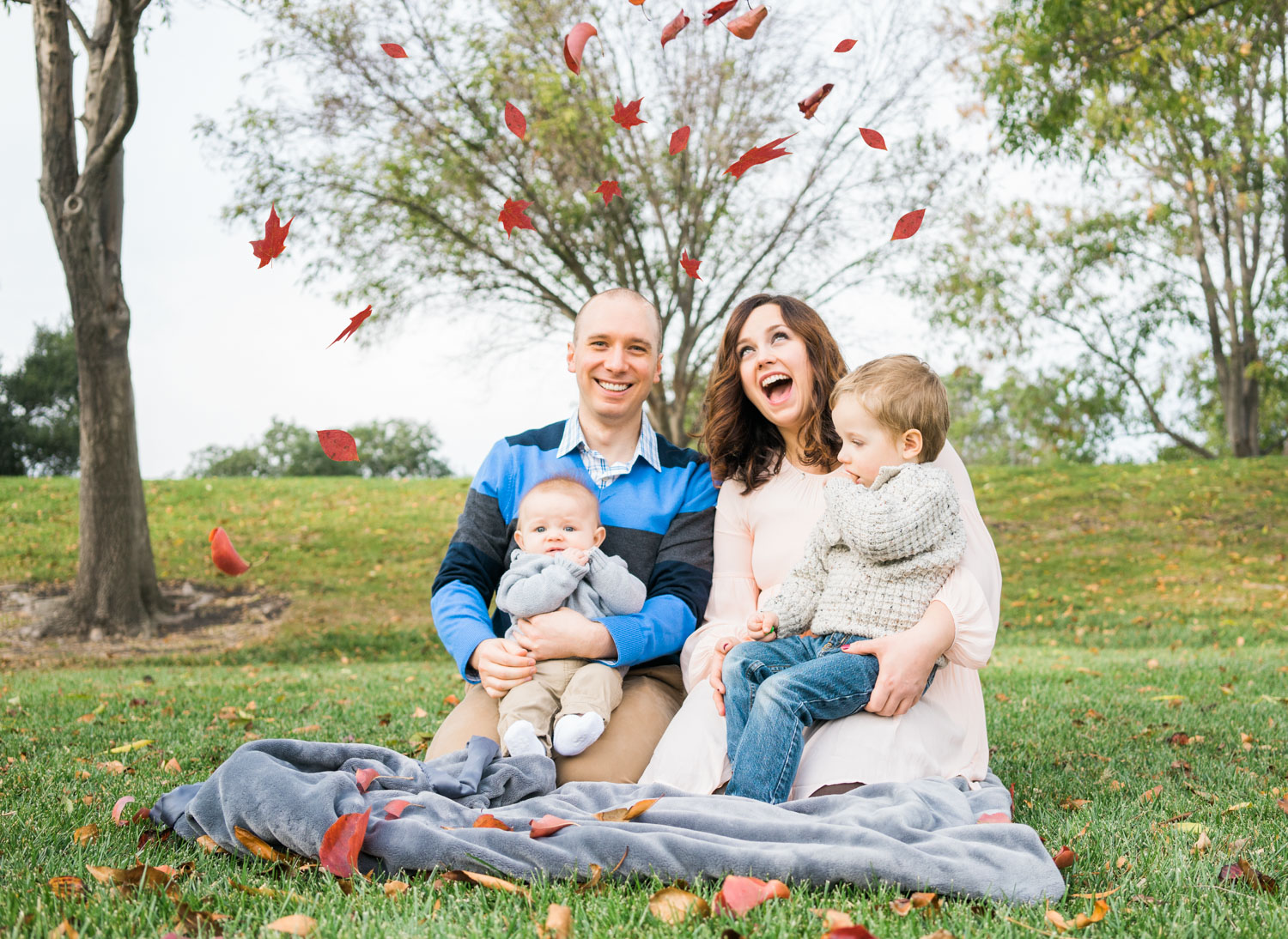 Fall Family Photoshoot - This picture is not perfect but the expressions are priceless and a keepsake for your christmas tree.