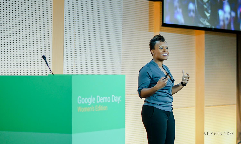 Stephani Lampkin presenting Blendoor at Google Demo Day 2016