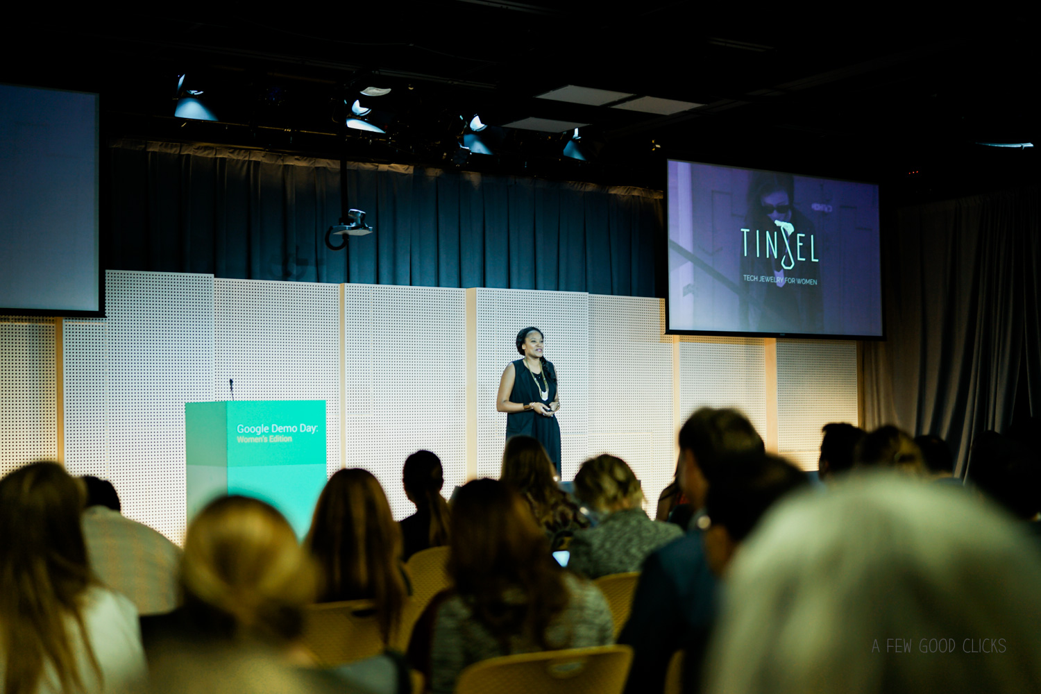 Photograph of Tinsel founder Aniyia Williams at Google Demo Day