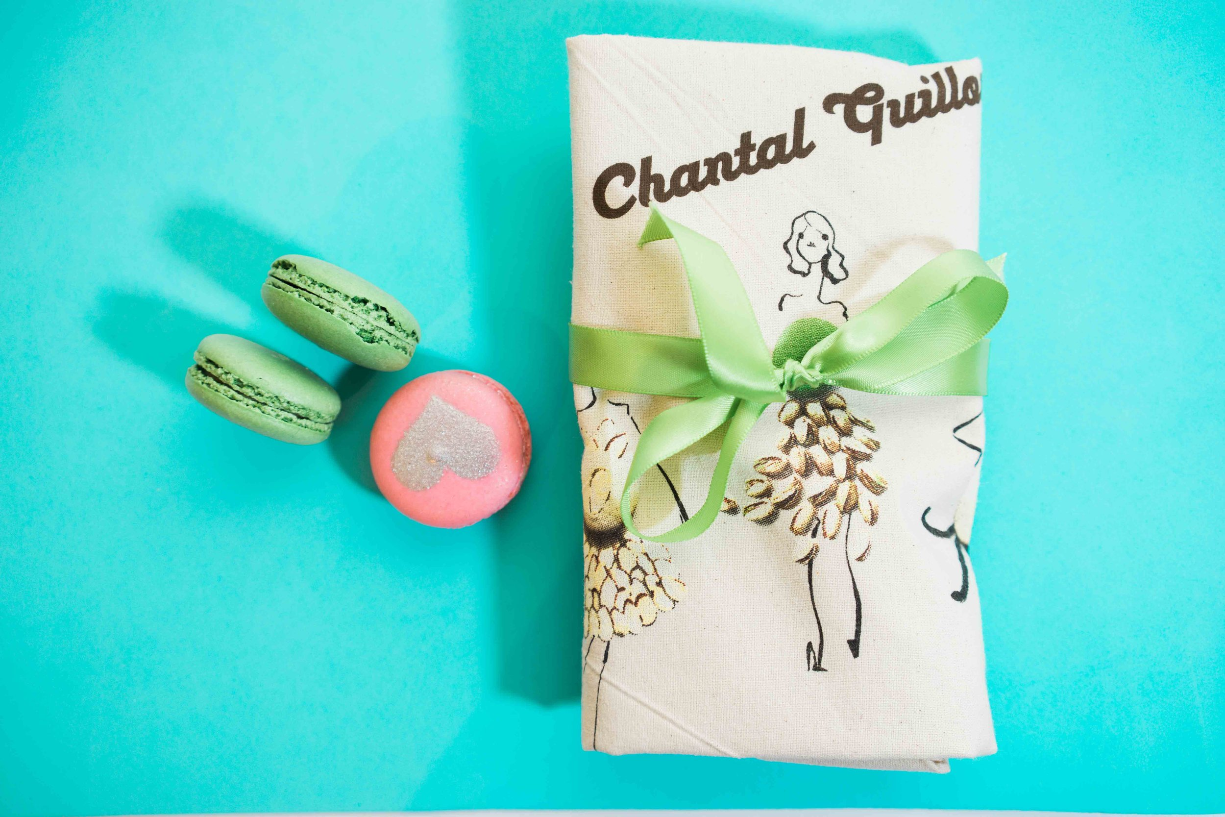 Cherry blossom macaron with Chantal Guillon bag picture.