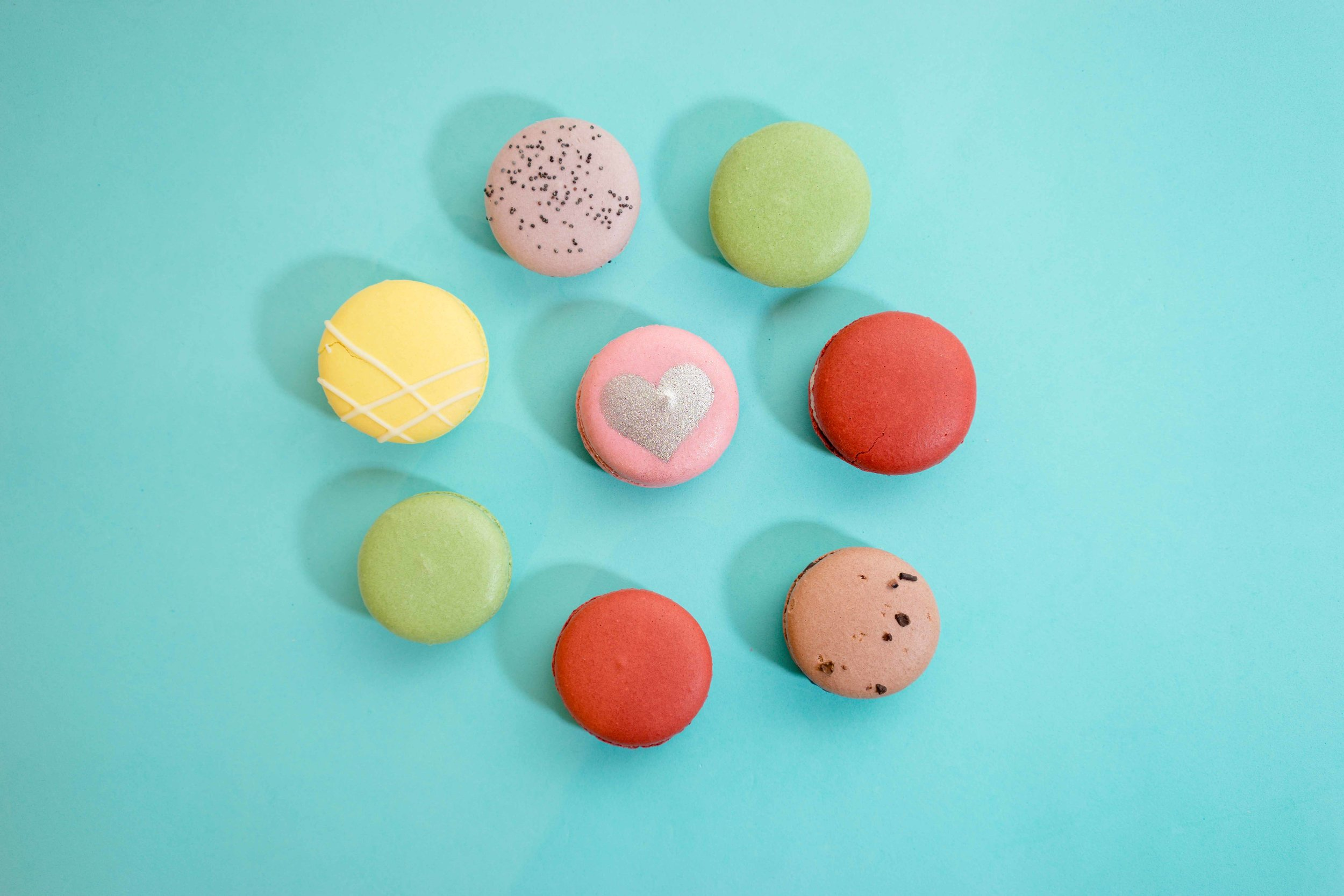 Pick one of your favourites or try them all | Macaron Photography on blue backdrop by A Few Good Clicks in Palo Alto