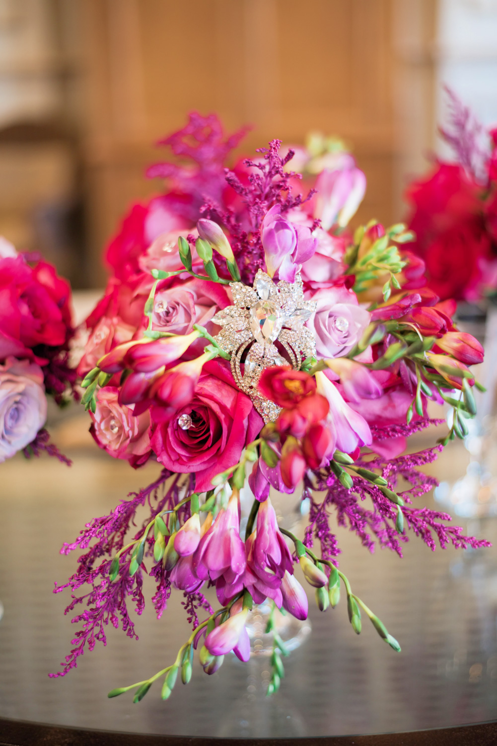 Handmade spring wedding flower bouquets put together by bride's family.